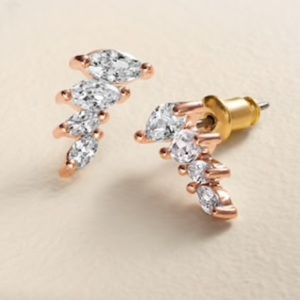 LC Cubic Zirconia Graduated Marquise Ear Climbers